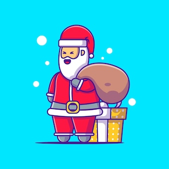 Cute illustration of santa claus with gift merry christmas
