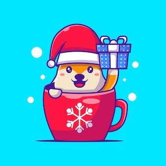 Cute illustration of santa fox with box merry christmas