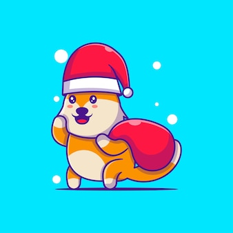 Cute illustration of santa fox with gift sack merry christmas
