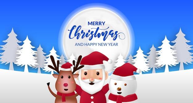 Симпатичная иллюстрация санта-клауса, оленей, мультяшных снеговиков для счастливого рождества и счастливого нового года