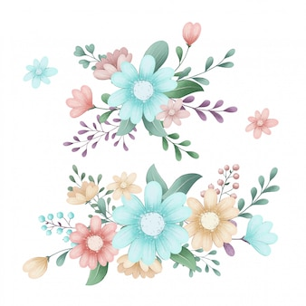 숲 봄 꽃의 귀여운 일러스트 세트