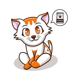 かわいいイラストスナック猫キャラクターアイコン