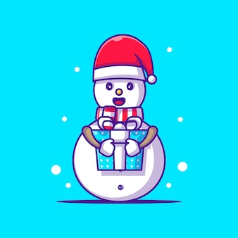 Cute illustration of snow man holding christmas gift. merry christmas