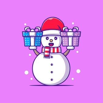 Cute illustration of snow man with christmas gift. merry christmas