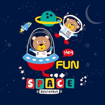 Cute illustration of space background premium