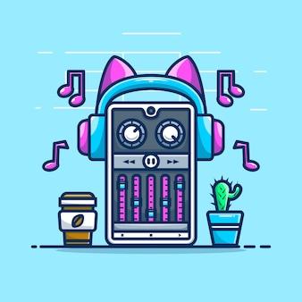 スマートフォンで音楽をストリーミングするかわいいイラスト