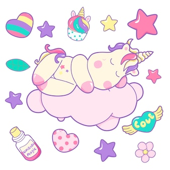 Cute illustration of unicorn with doodle elements