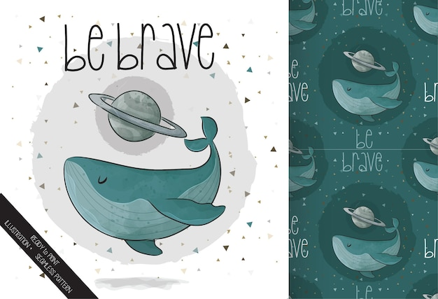 Cute illustration whale with planet on the space