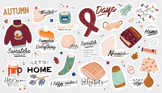 Симпатичные иллюстрации с осенними и зимними уютными элементами. на белом фоне. мотивационная типография отпускных цитат хюгге. скандинавский датский стиль.