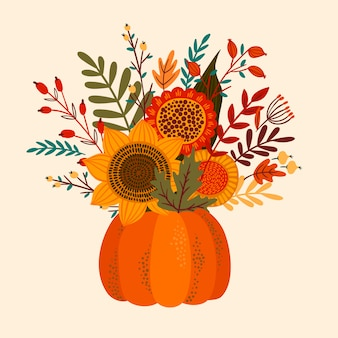 Cute illustration with autumn bouquet.