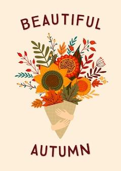 Cute illustration with autumn bouquet.