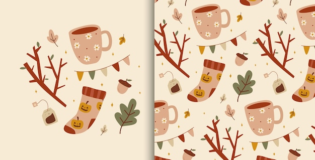 Cute illustration with autumn cozy elements