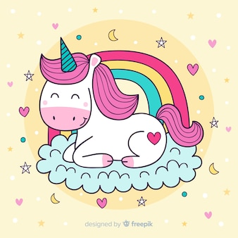 Cute illustration with colorful unicorn