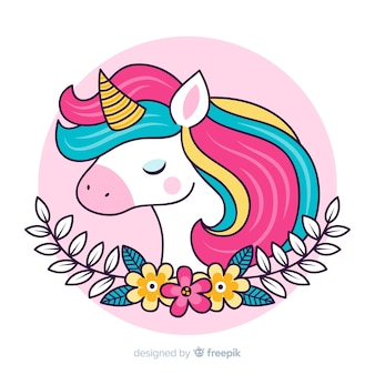 Cute illustration with colourful unicorn