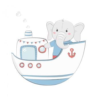 코끼리 아기와 함께 귀여운 일러스트