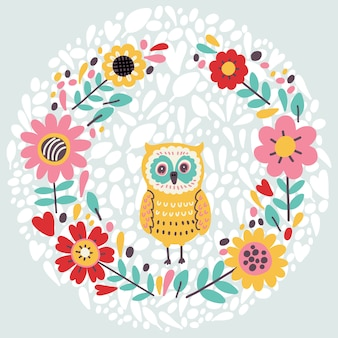 Cute illustration with floral wreath and owl. vector illustration