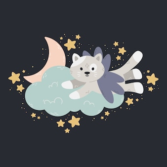 Cute illustration with moon, stars, cloud on a dark background.  print for baby room, greeting card, kids and baby t-shirts and clothes, women wear. sweet dreams hand drawn nursery illustration.
