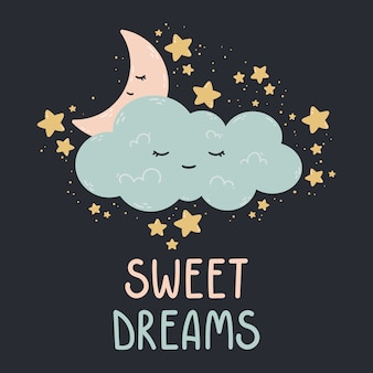 달, 별, 어두운 배경에 구름과 귀여운 그림. 아기 방, 인사 장, 어린이 및 아기 티셔츠 및 의류, 여성복 인쇄. 달콤한 꿈 손으로 그린 보육 그림.