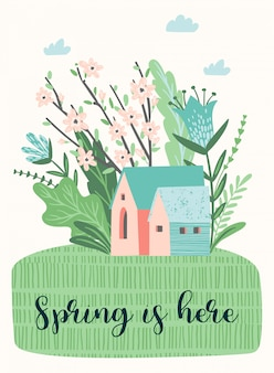Cute illustration with spring landckape.