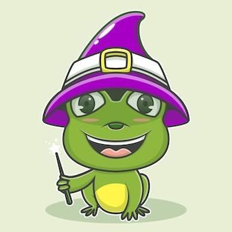 Милая иллюстрация волшебник лягушка значок персонажа
