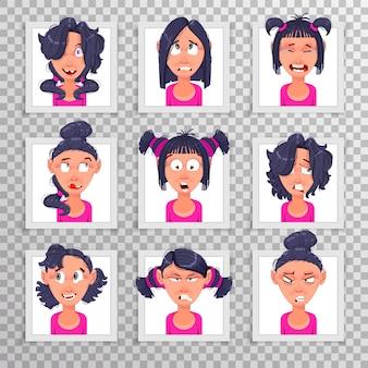 さまざまな髪型の感情を持つ美しい若い女の子のかわいいイラストがステッカーとして作られました。