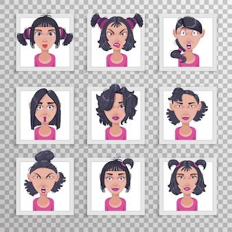 스티커로 만든 다른 헤어 스타일 감정을 가진 아름다운 어린 소녀의 귀여운 일러스트.