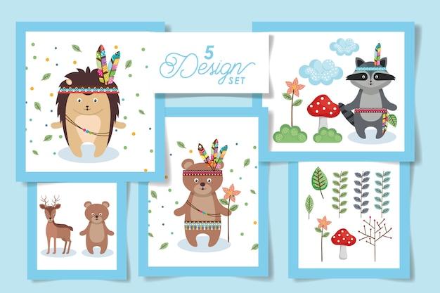 Cute indian animal card set