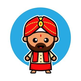 Милый индийский мальчик мультипликационный персонаж