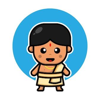 Милый индийский мальчик персонаж