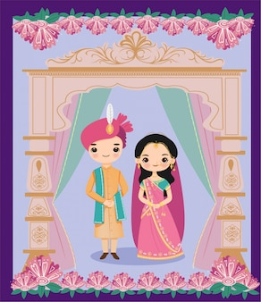Cute indian bride and groom in rajasthani wedding style for wedding invitation card