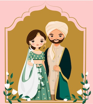 Cute indian bride and groom in traditional dress cartoon