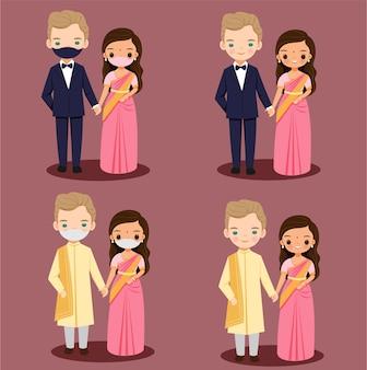 結婚式のための伝統的なドレスで外国の新郎のカップルの漫画とかわいいインドの花嫁