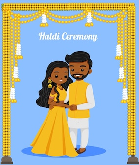 Cute indian couple in haldi outfit for wedding ceremony