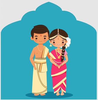 Cute indian couple in tamil iyengar tradition wedding dress