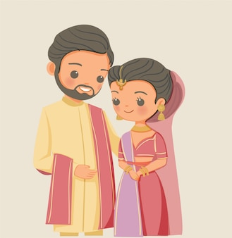 Cute indian couple in traditional dress cartoon character
