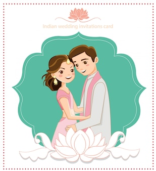 Cute indian couple for wedding card
