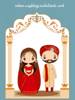 Cute indian couple for wedding invitations card