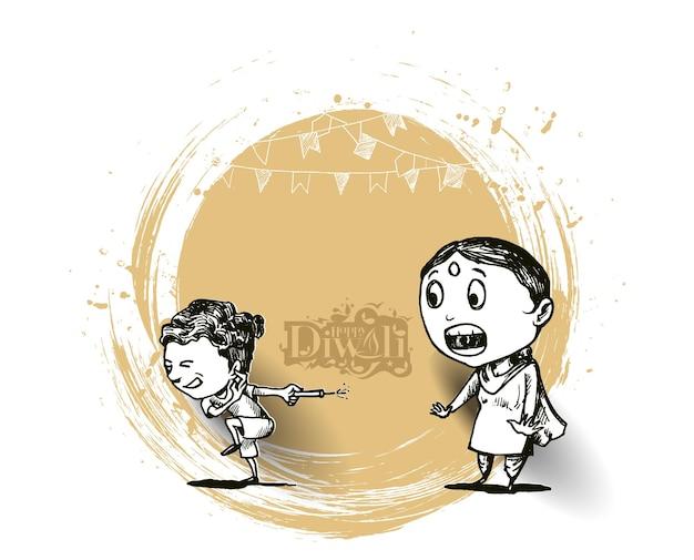 Симпатичные индийские дети, наслаждаясь фейерверком, празднует дивали, рисованную векторную иллюстрацию эскиза.