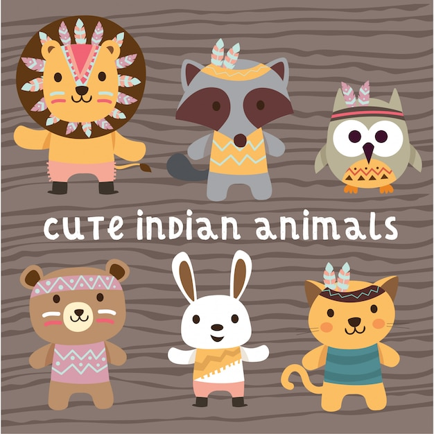 Cute indian native american animals