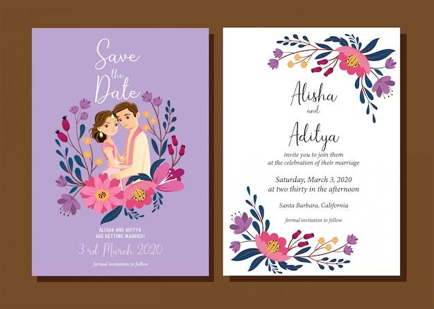 背景で分離された結婚式の招待カードのかわいいインドの結婚式のカップル