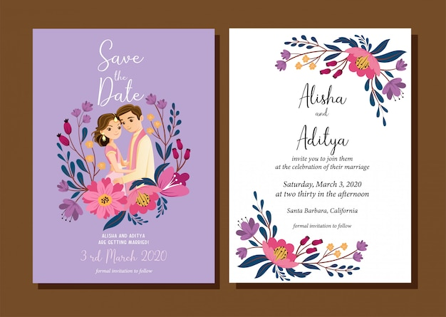 Cute indian wedding couple for wedding invitations card, isolated with background