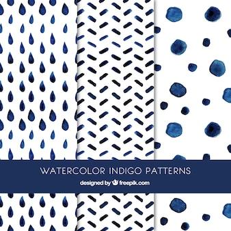 Cute indigo patterns Premium Vector