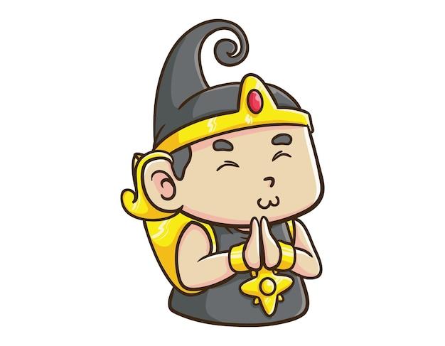 かわいいインドネシアのヒーローキャラクター赤ちゃんガトートカチャは漫画のマスコットのイラストを謝罪します