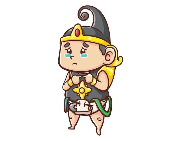 かわいいインドネシアのヒーローキャラクター赤ちゃんガトートカチャ泣く漫画イラスト