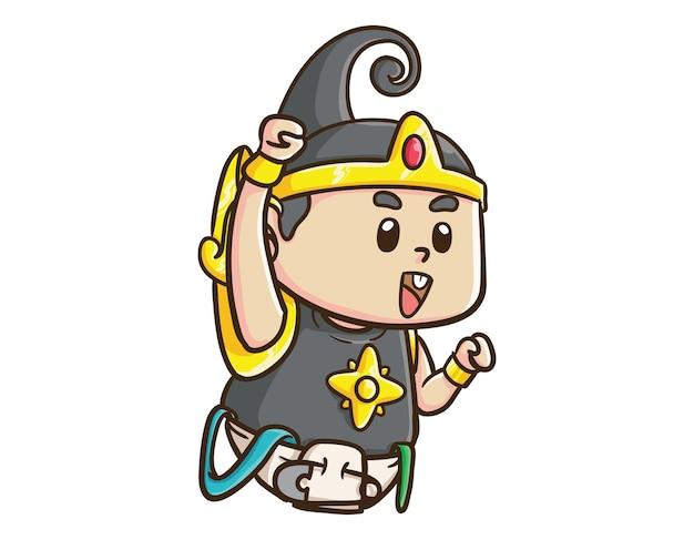かわいいインドネシアのヒーローキャラクター赤ちゃんガトートカチャ拳アップ漫画マスコットイラスト