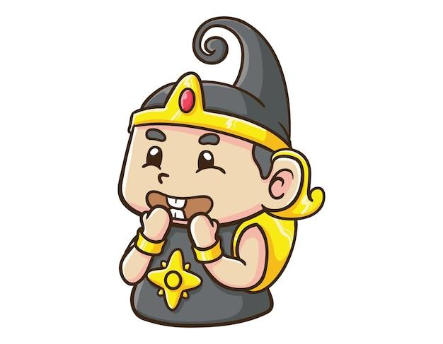 かわいいインドネシアのヒーローキャラクター赤ちゃんガトートカチャ笑い漫画イラスト