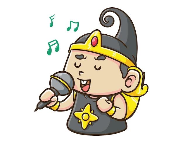 かわいいインドネシアのヒーローキャラクター赤ちゃんガトットカカ歌う漫画マスコットイラスト