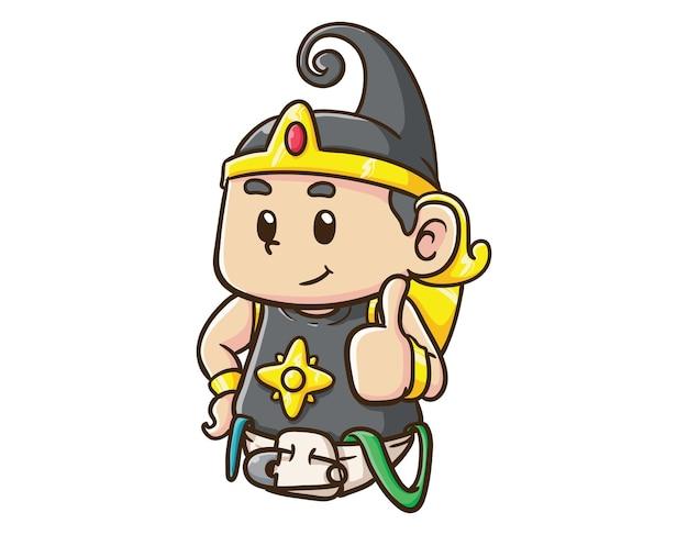 かわいいインドネシアのヒーローキャラクター赤ちゃんガトートカチャ親指アップ漫画イラスト
