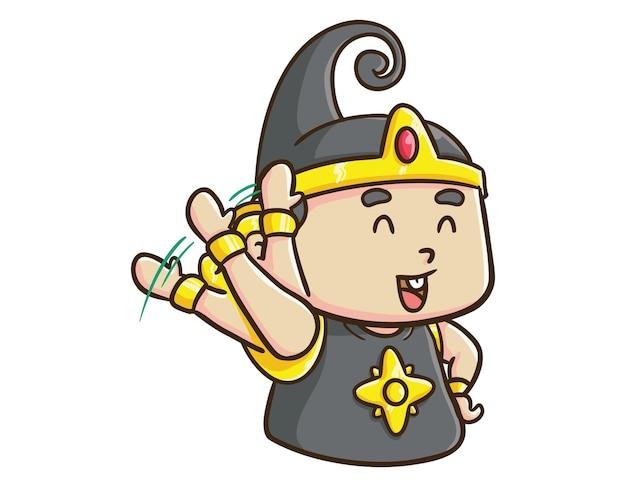 かわいいインドネシアのヒーローキャラクター赤ちゃんガトートカチャを振って漫画イラスト