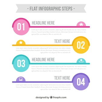 Cute infographic steps template
